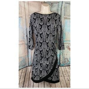 41 Hawthorn- Paisley Side Ruched Midi Dress- Sz S